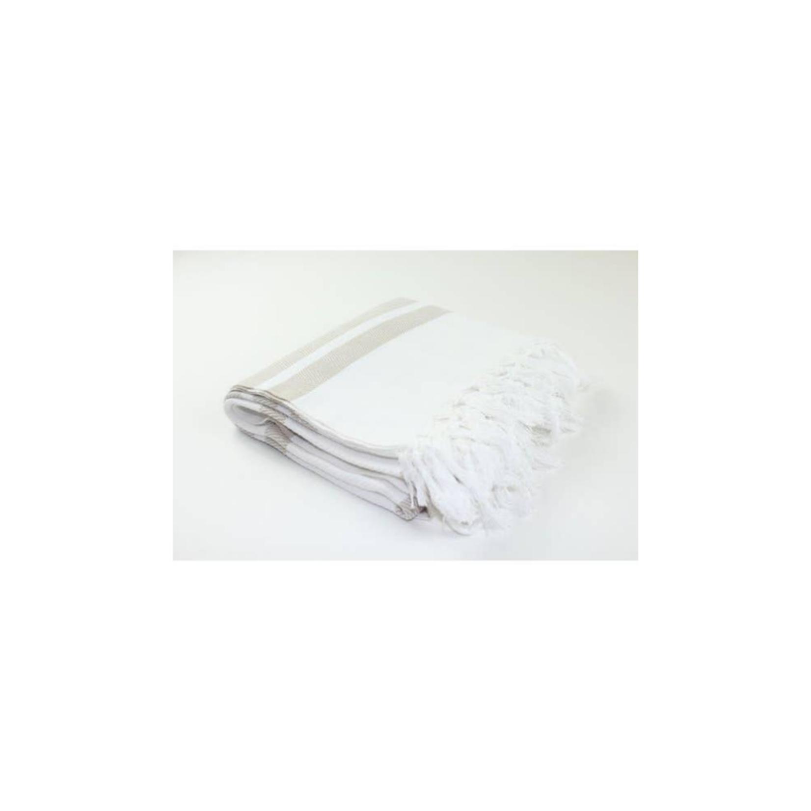 Premium Turkish Towel: White/Sand
