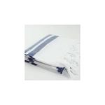 Premium Turkish Towel: White & Dark Navy