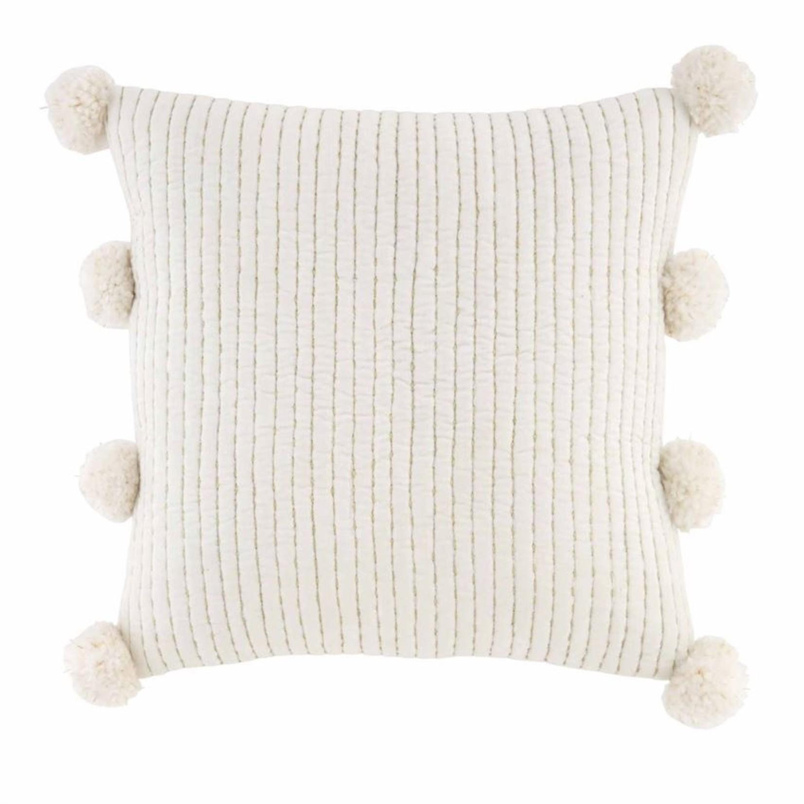 Gold & White Pom Pom Pillow