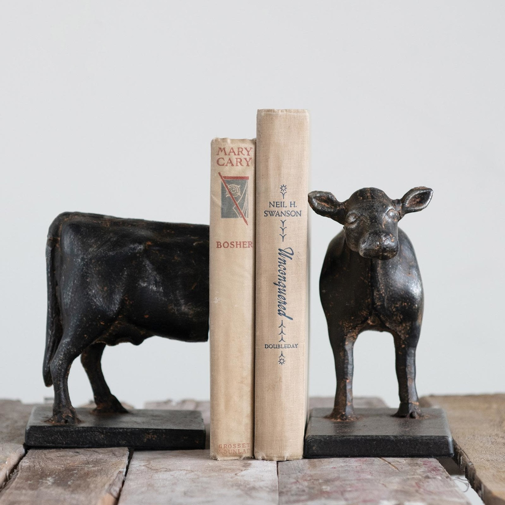 Cast Iron Cow Book Ends