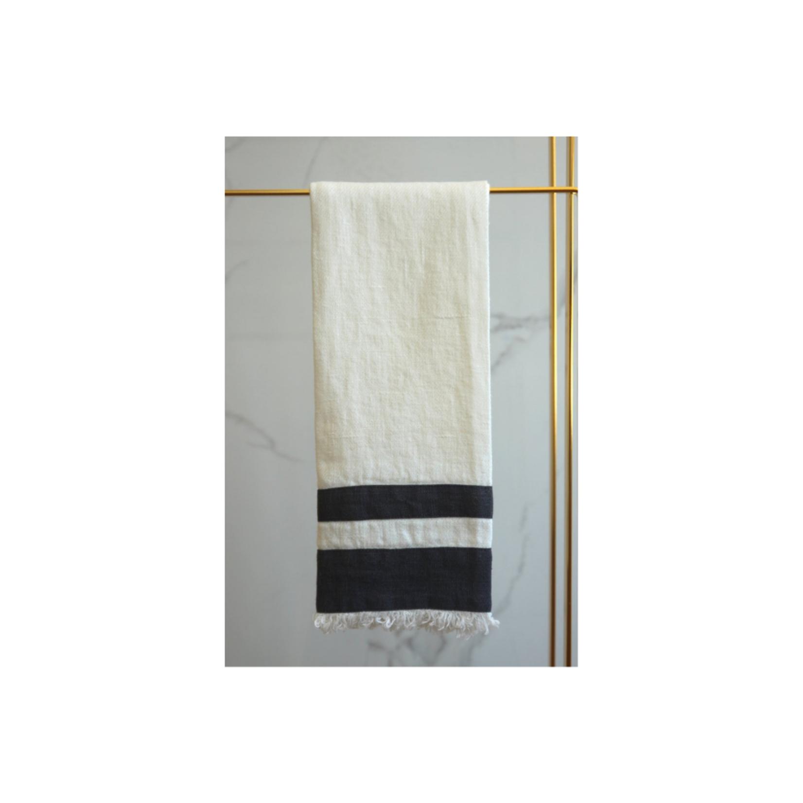 Lipari Linen Tea Towel White & Light Grey