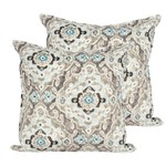 Taupe Damask Outdoor Pillow