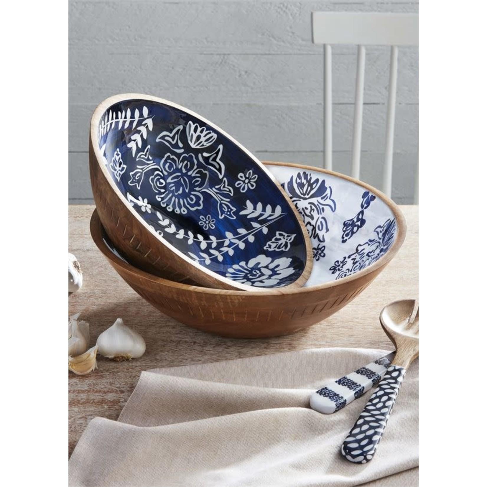 Blue Carved Wood Serving Bowls (Multiple Sizes)