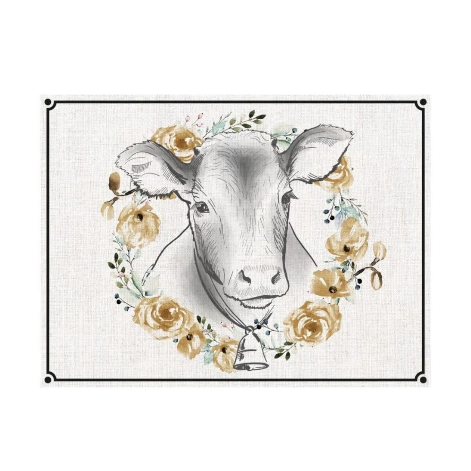 Flower Wreath Cow Mat