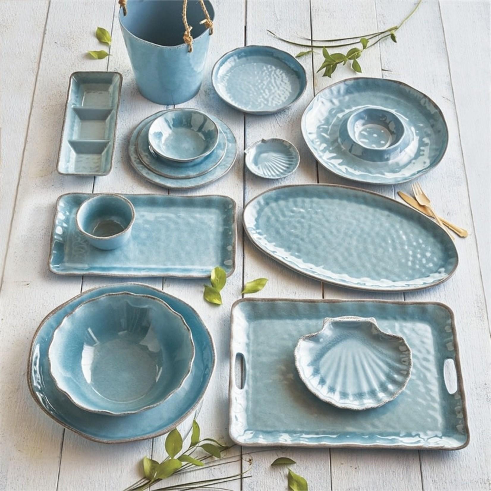 Veranda Melamine Oval Platter, Aqua