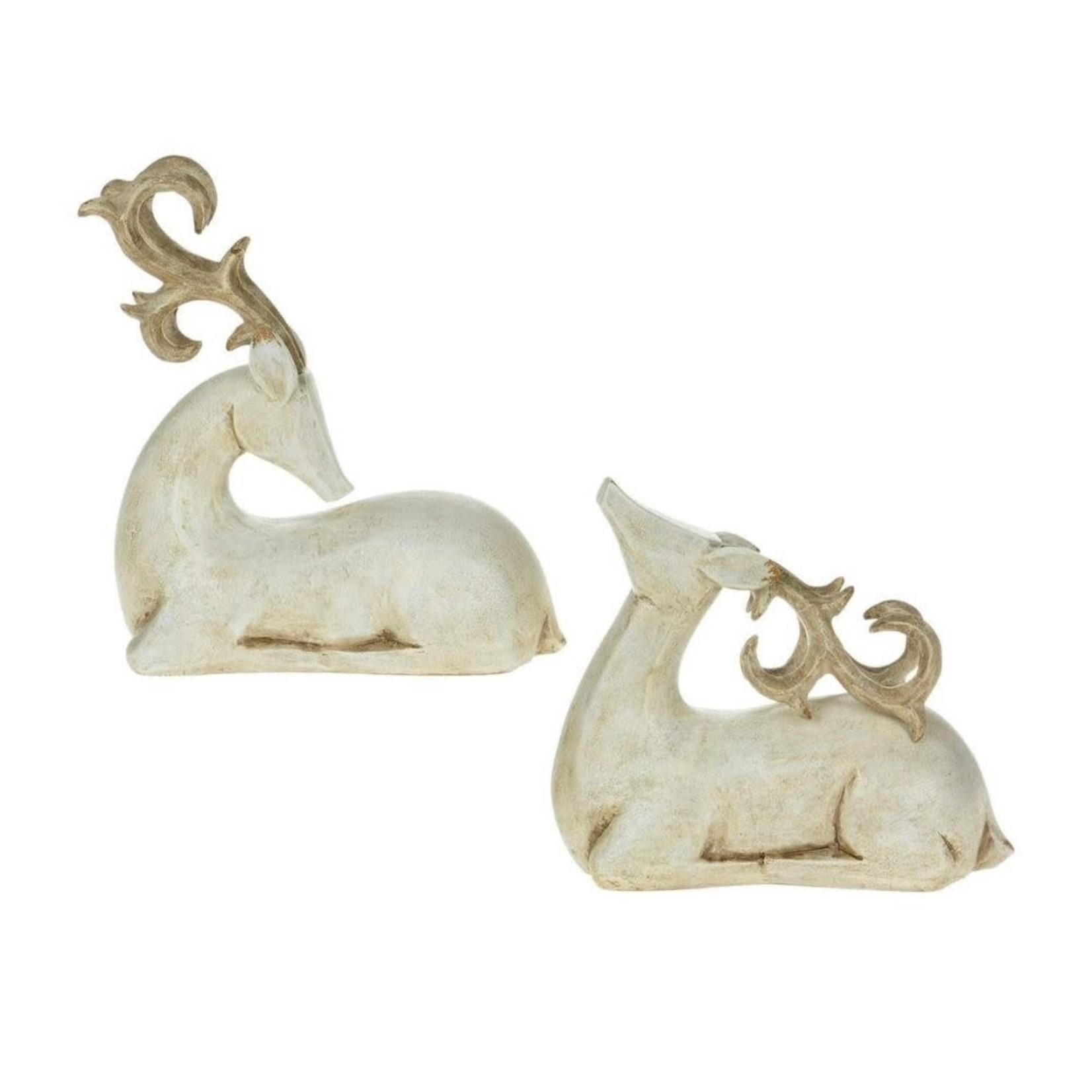 Antique White Resting Deer
