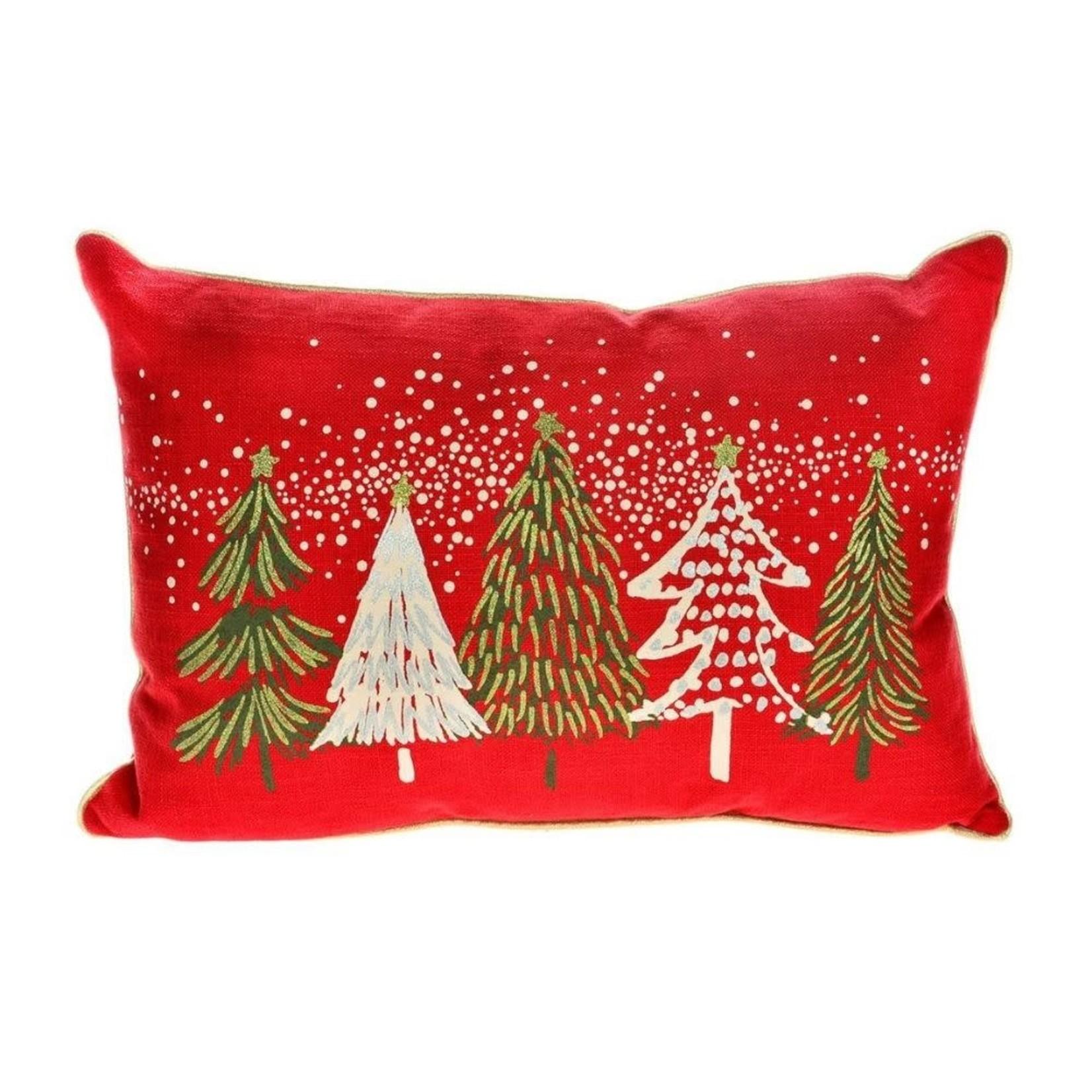 Green & White Christmas Trees Pillow