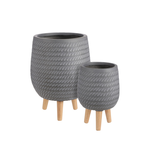 Grey Corda Pot on Stand (Multiple Sizes)