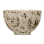 Winter Scene Stoneware Bowl