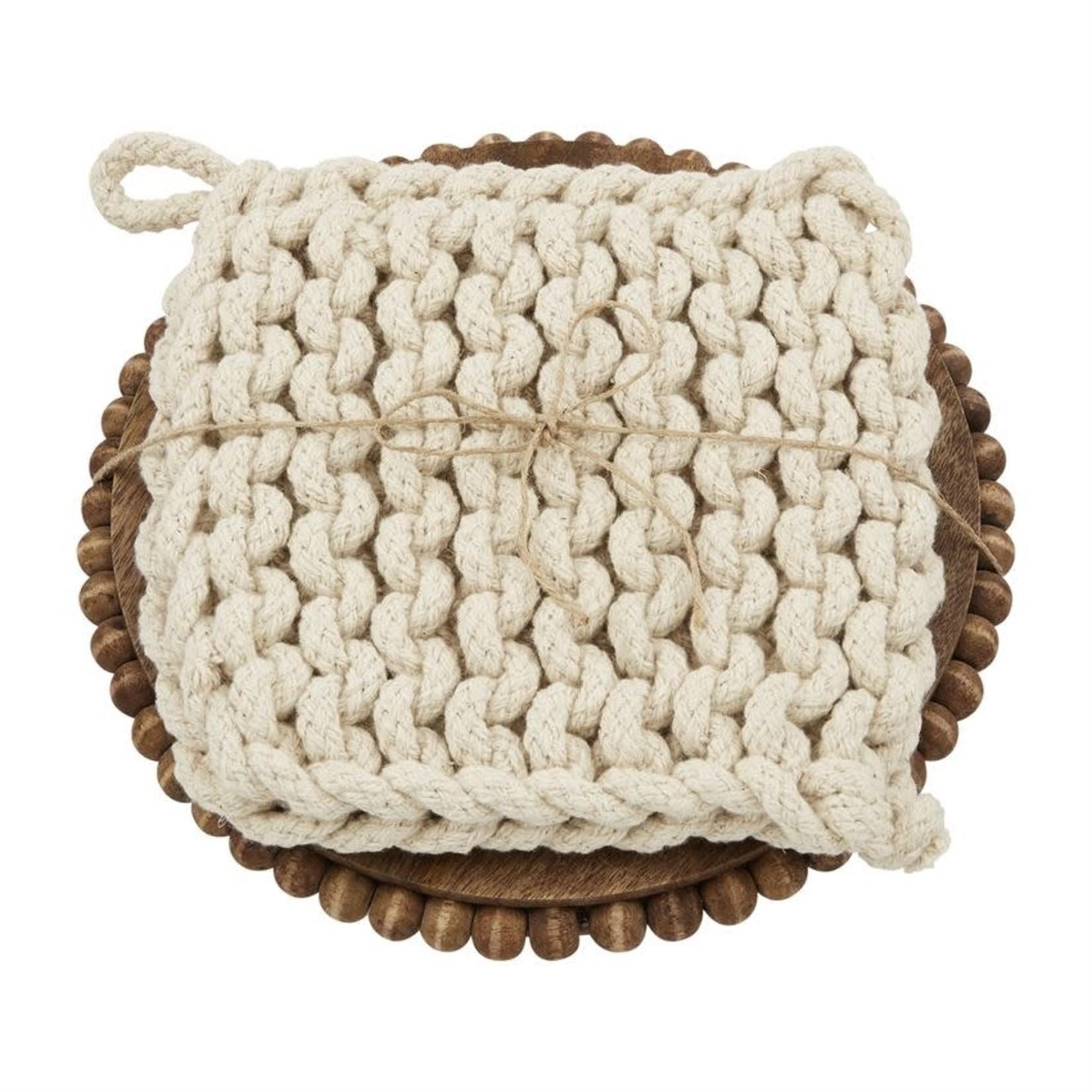 Beaded Trivet with Crocheted Pot Holder