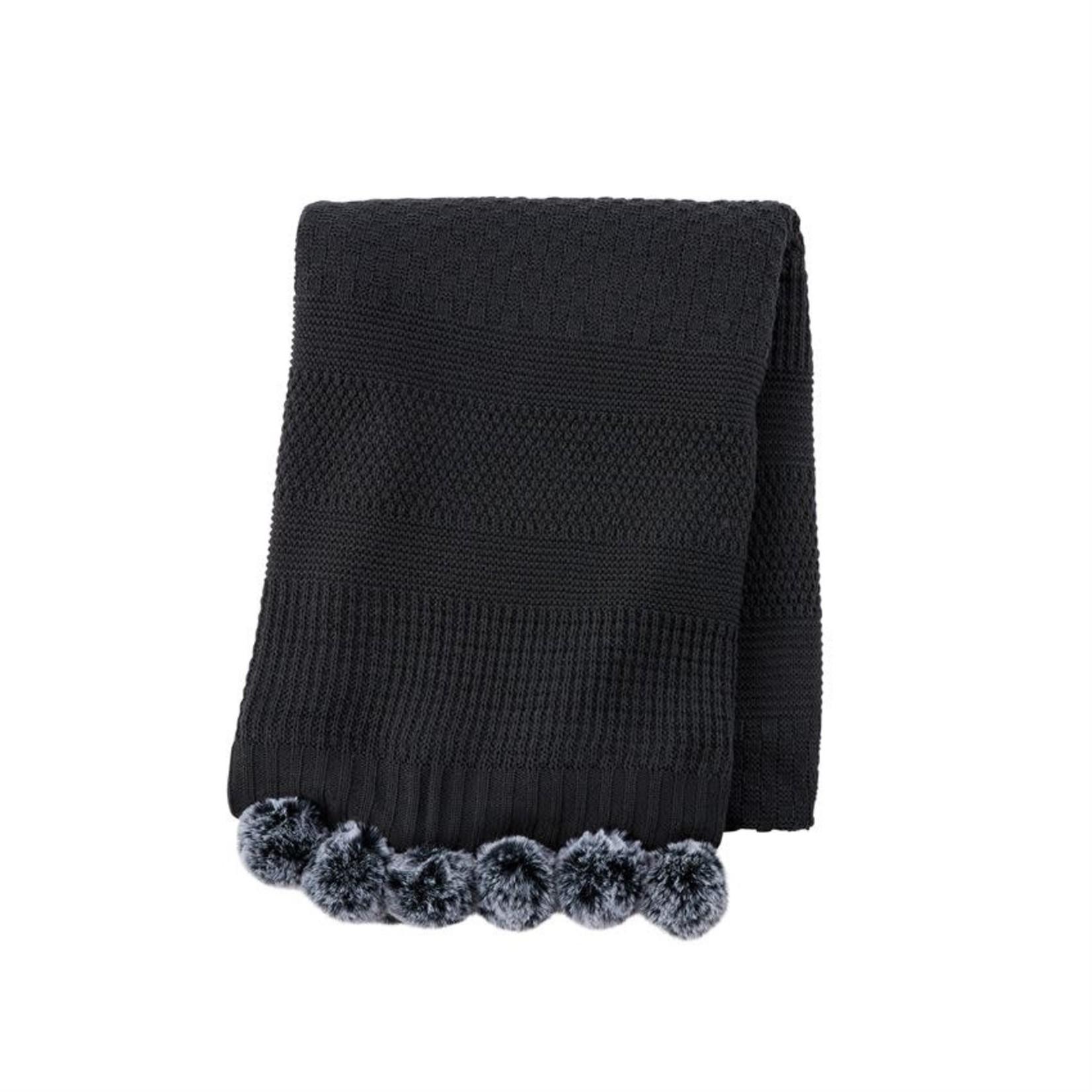 Knit Blanket with Fur Pom Pom (Multiple Options)