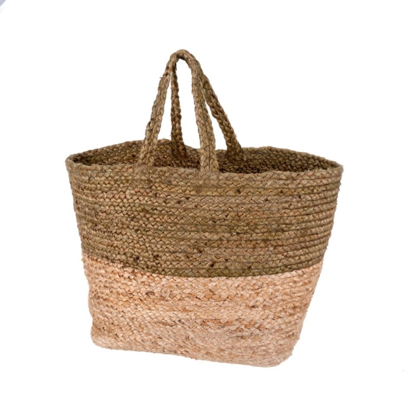 Braided Jute Basket Sage