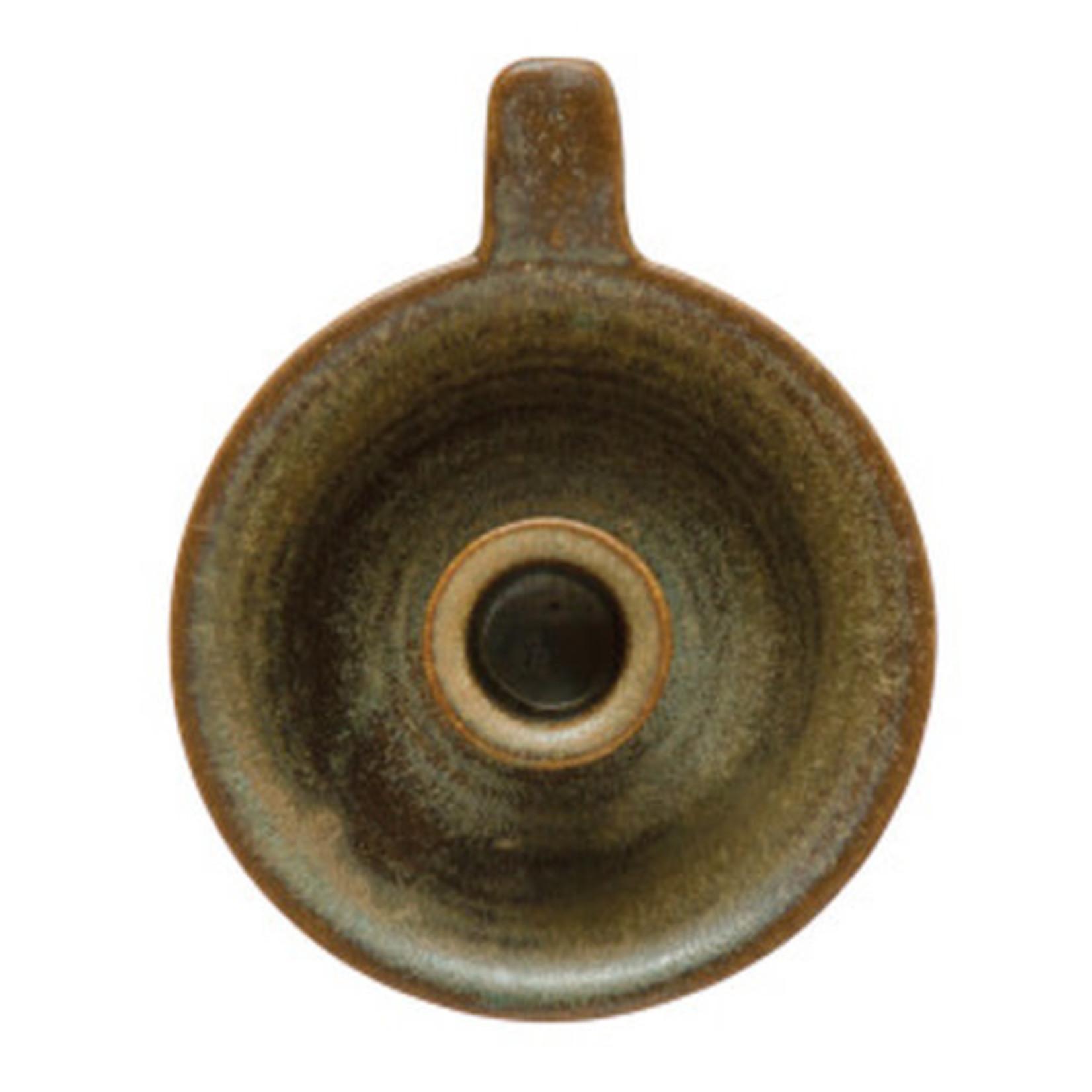 Brown Stoneware Taper Holder
