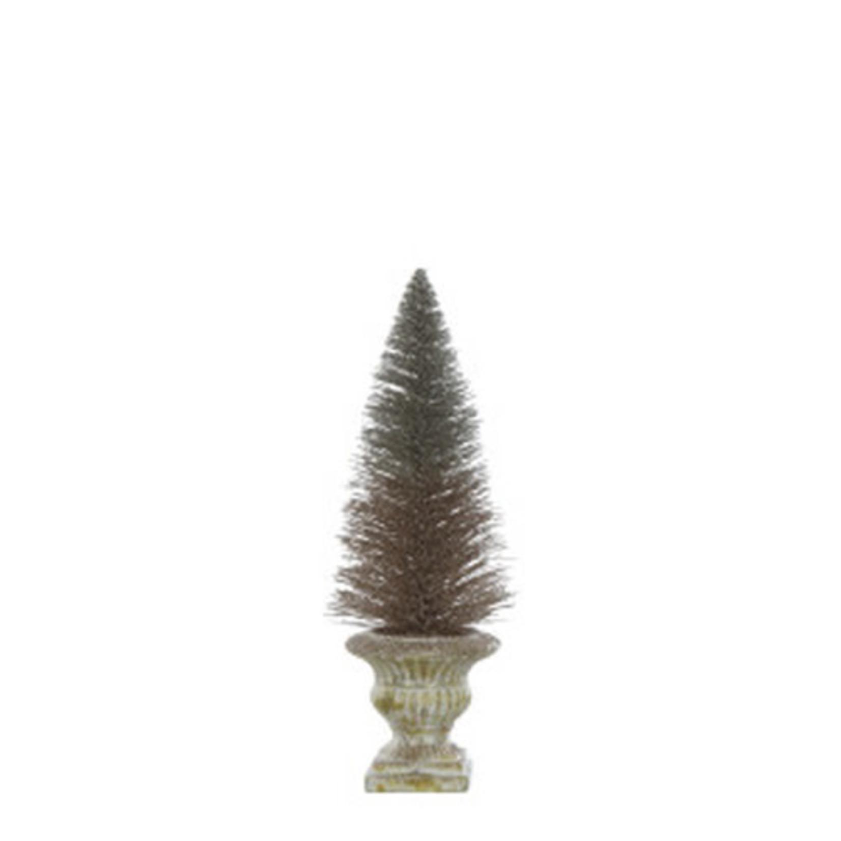 Bottle Brush Tree in Copper Finish Urn
