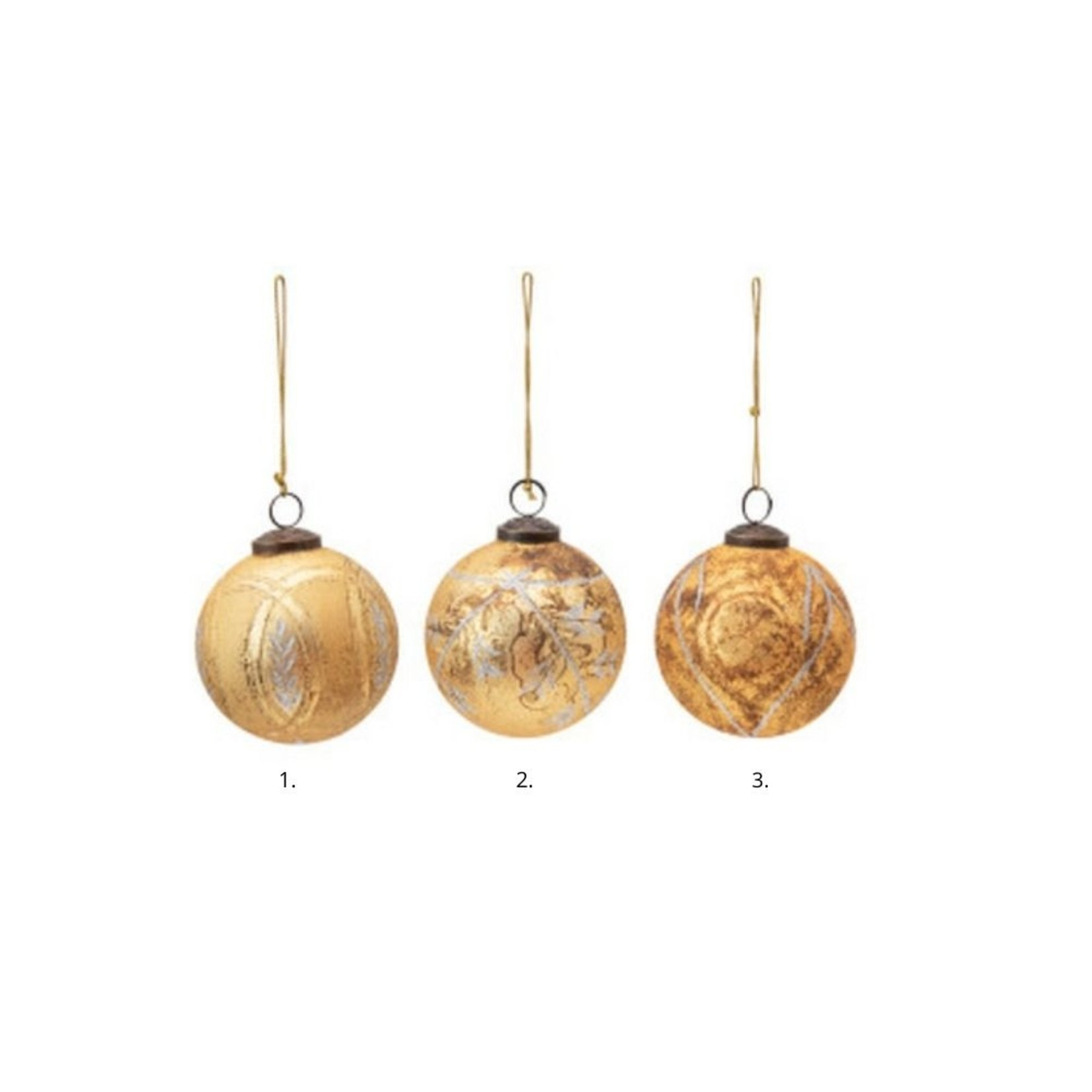 Embossed Gold Glass Ornaments (Multiple Options)