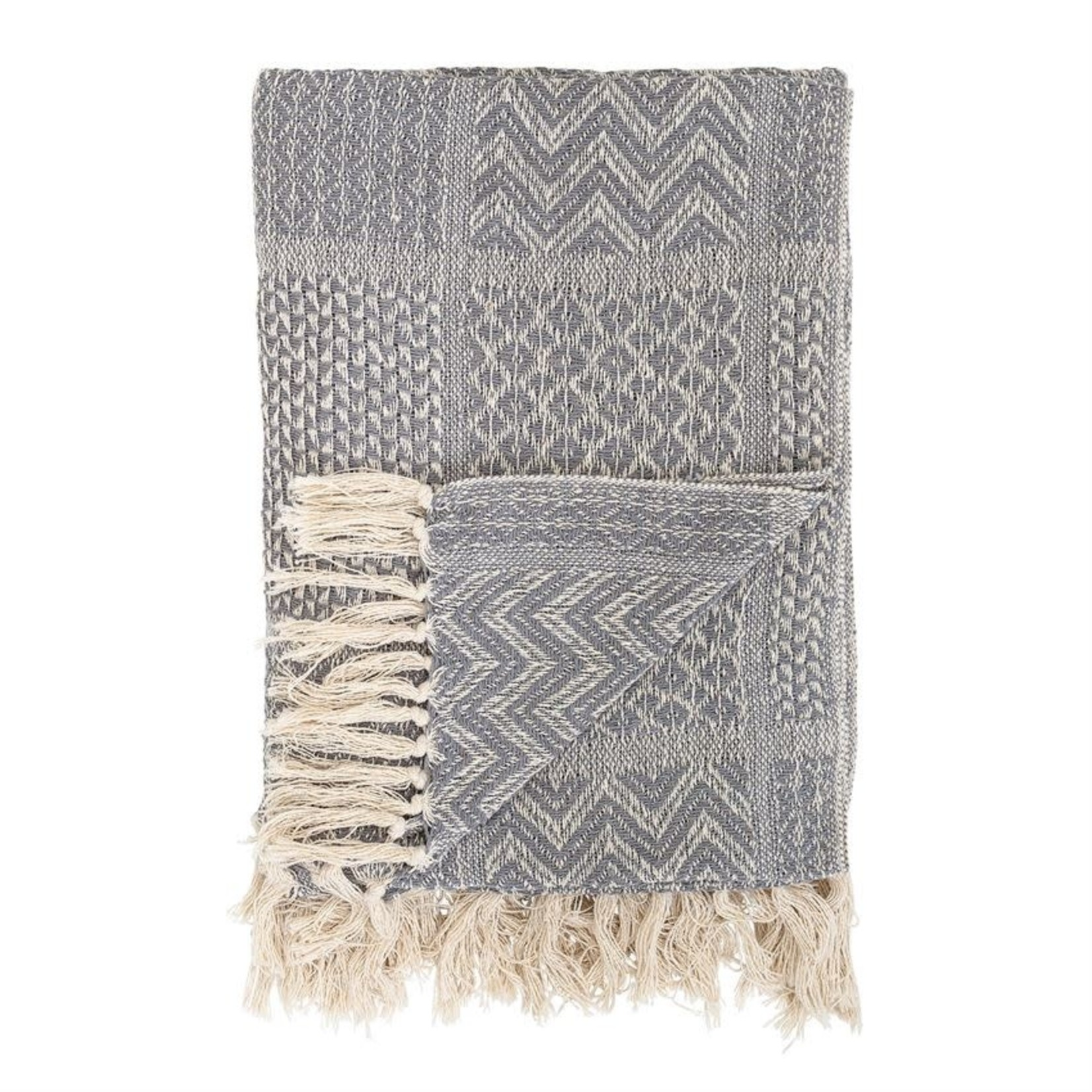 Grey Recycled Cotton Blend Throw