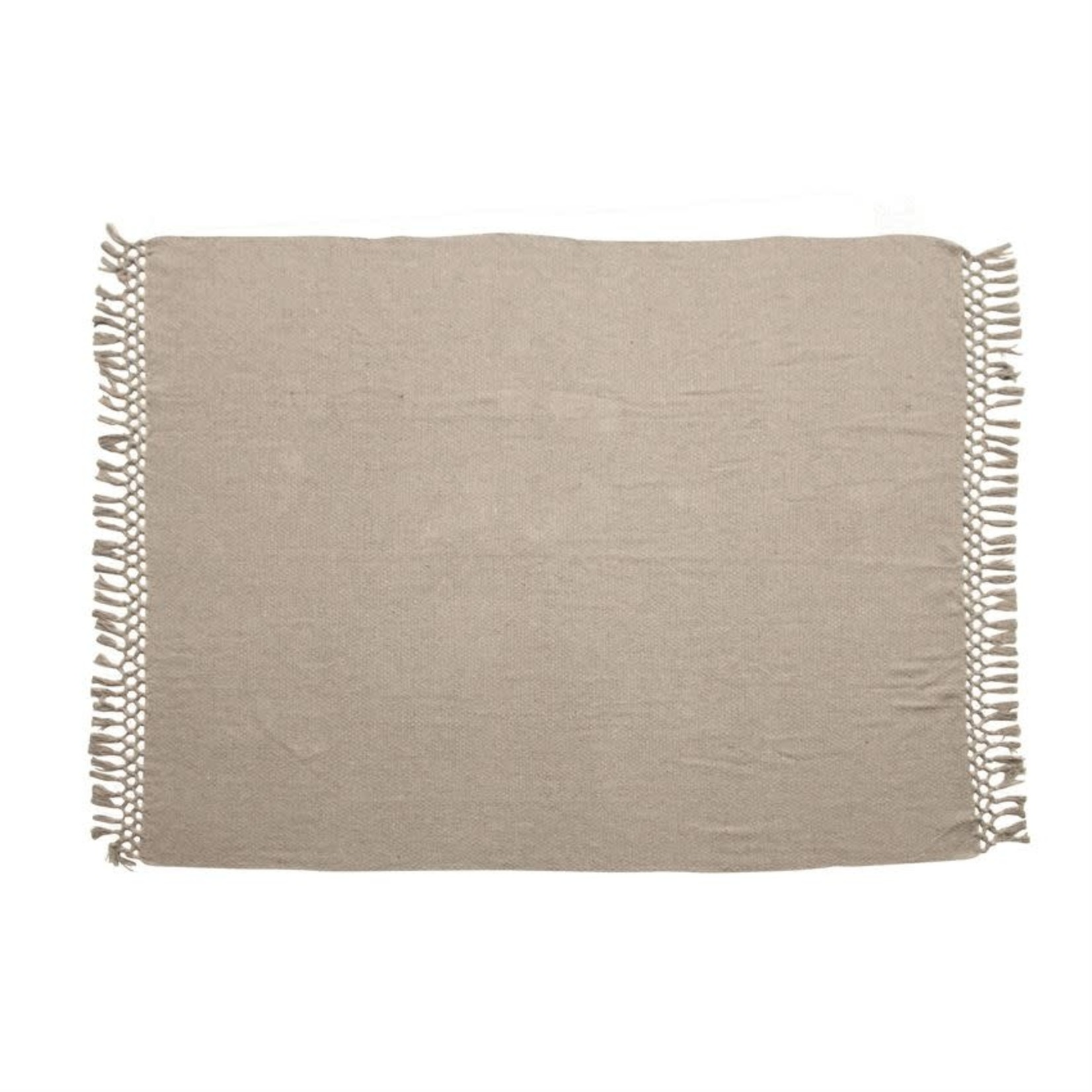 Grey Recycled Cotton Blend Throw with Crochet & Fringe