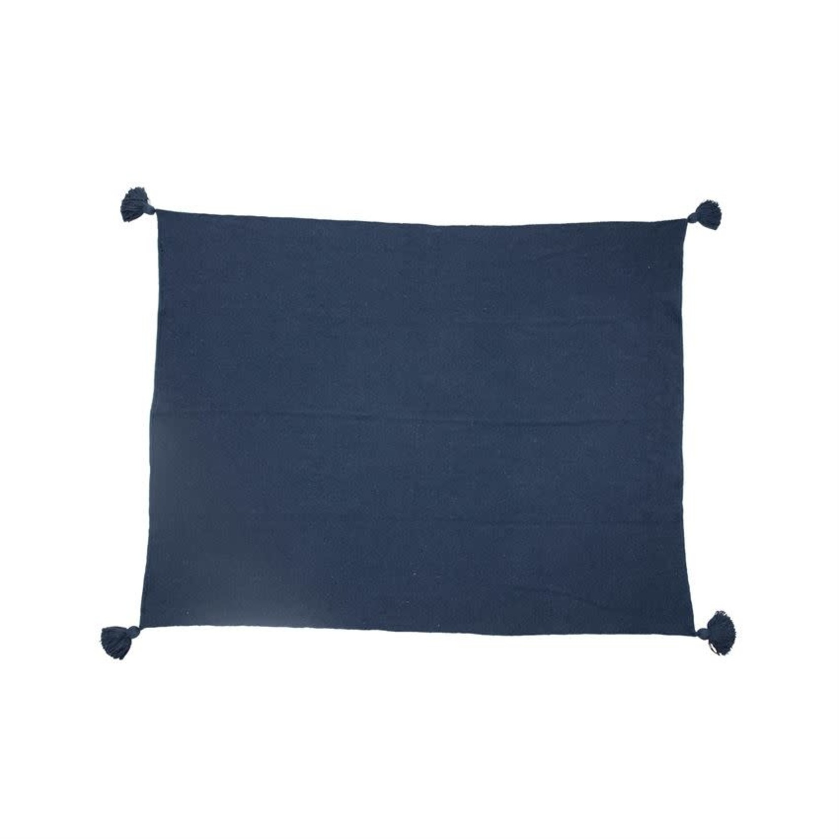 Blue Recycled Cotton Blend Throw
