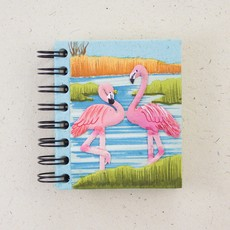 Notebook- Flamingos- Robin's Egg Blue- Small (Sri Lanka)