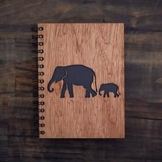 Notebook- Elephant Walk-Wood Cover-Large (Sri Lanka)