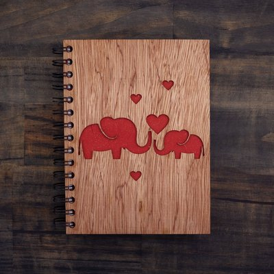 Notebook- Elephant Love-Wood Cover-Large (Sri Lanka)