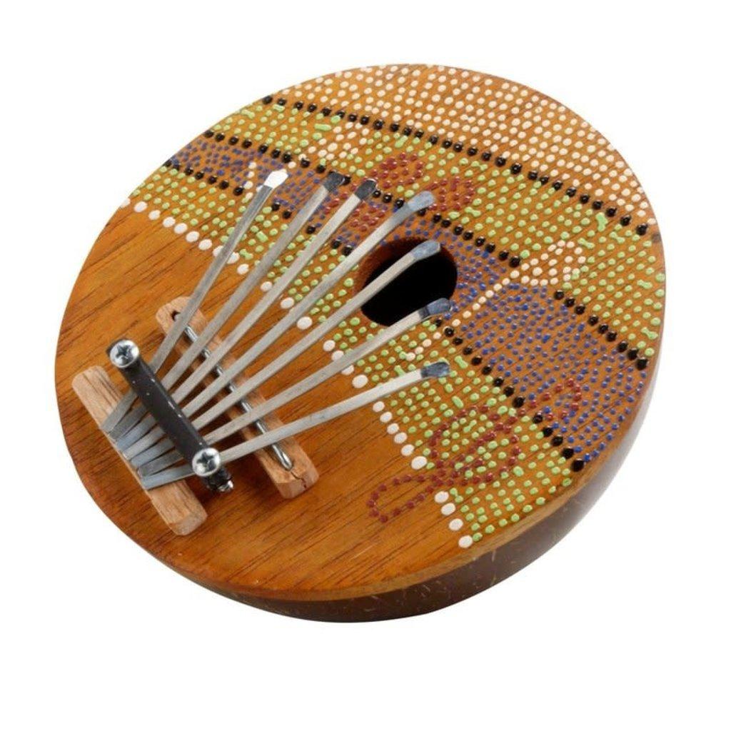 Thumb Piano-Green Orange-Musical Notes-Dots-Albizia Wood (Indonesia)
