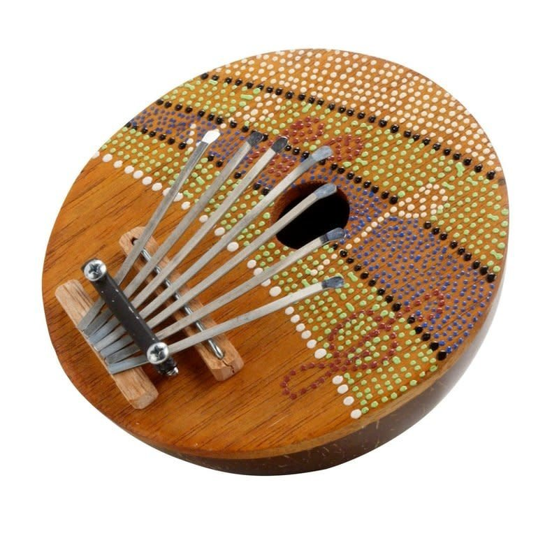Thumb Piano-Green Orange-Musical Notes-Dots-Painted (Indonesia)