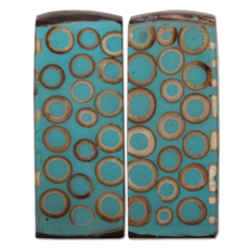 Salt & Pepper Shakers-Bamboo Inlay-Teal (Indonesia)