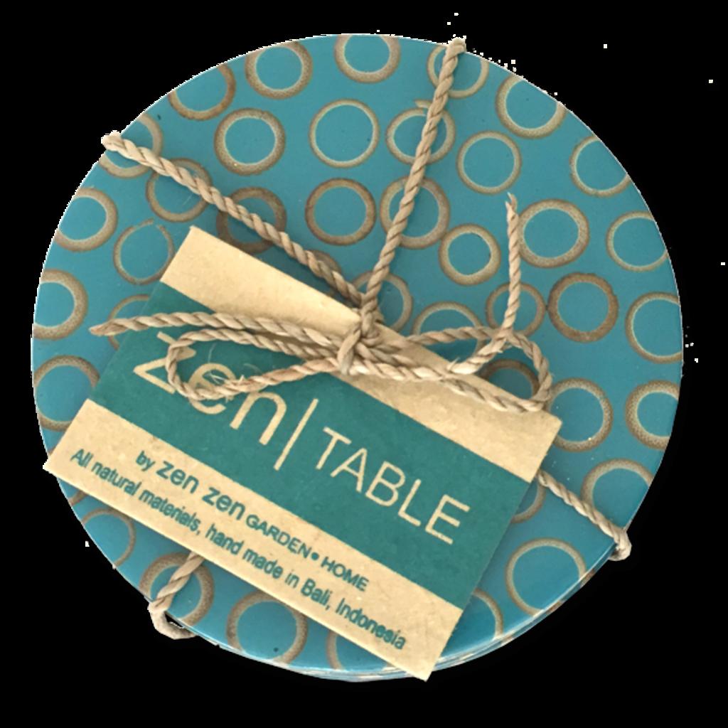 Coasters- Bamboo Inlay-Teal-Set/4 (Indonesiai)