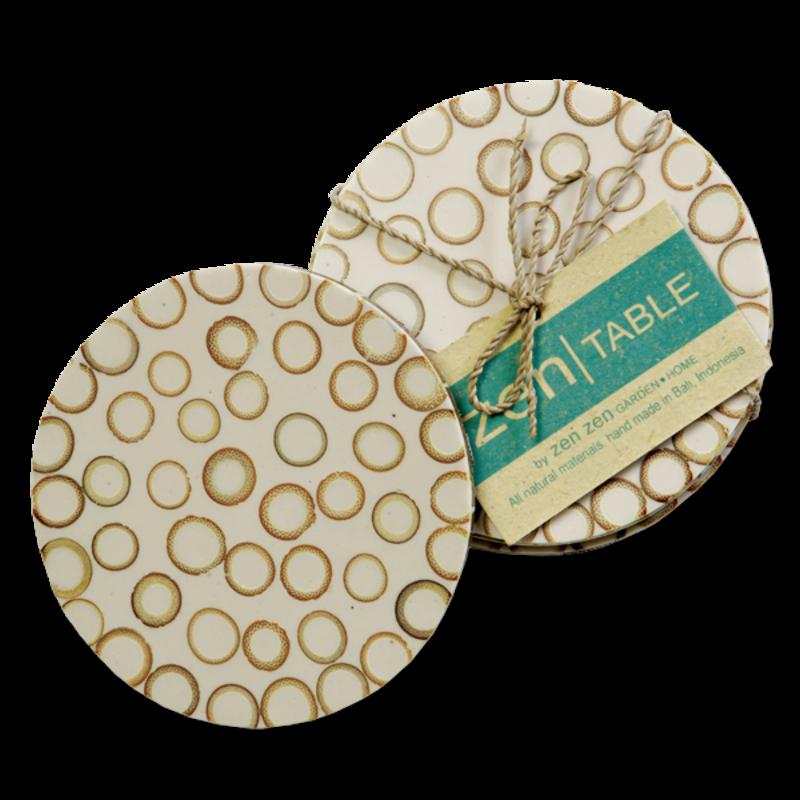 Coasters- Bamboo Inlay-Natural -Set/4 (Indonesia)
