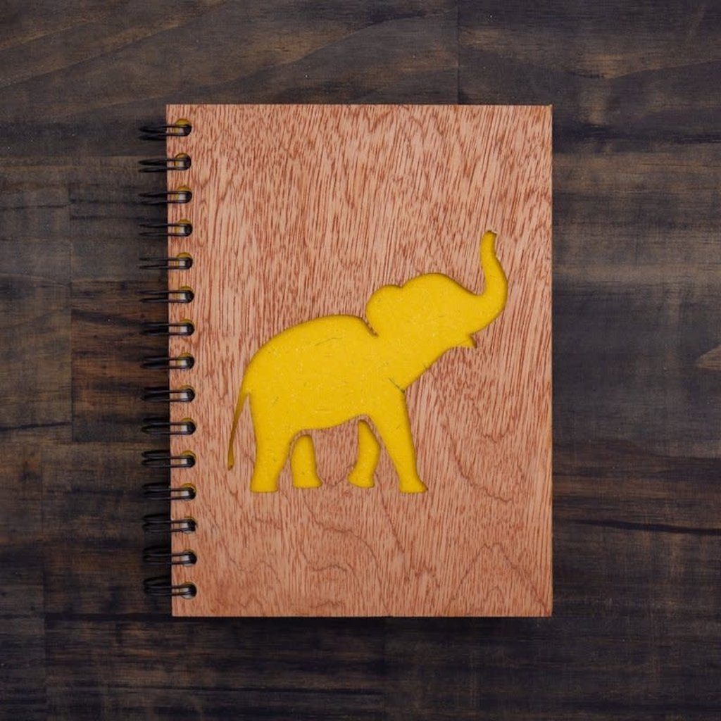 Notebook- Elephant Song-Wood Cover-Large (Sri Lanka)
