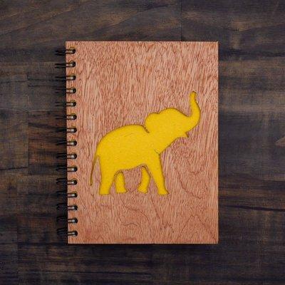 Notebook- Elephant Song-Wood Cover-Large (Sri Lanka)