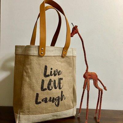 Bag- Tote-100% Jute-Live Love Laugh (Bangladesh)