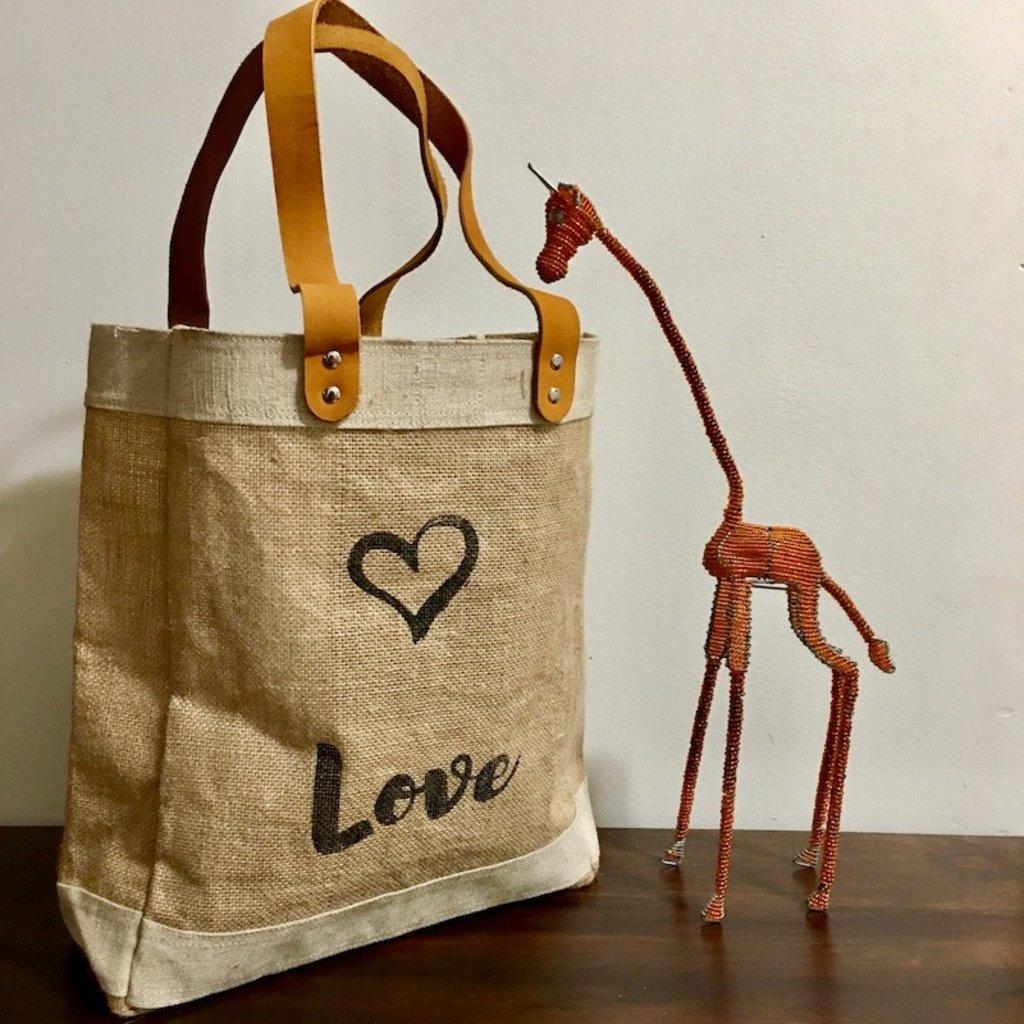 Bag- Tote-100% Jute-Peace & Love (Bangladesh)