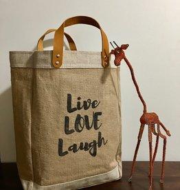 Bag- Market-100% Jute-Live Love Laugh (Bangladesh)