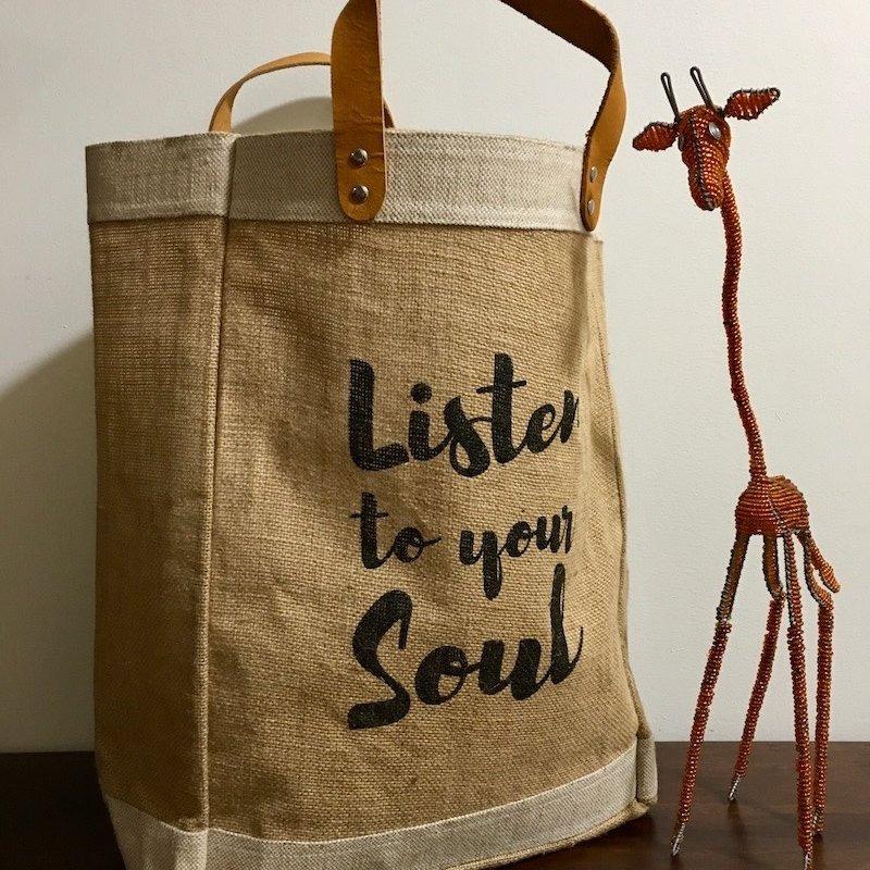 Bag- Market-100% Jute-Listen To Your Soul-Black (Bangladesh)