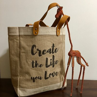 Bag- Tote-100% Jute-Create The Life You Love (Bangladesh)