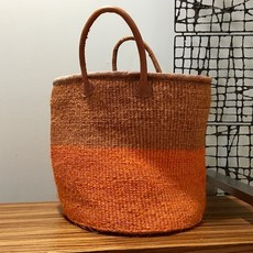 Sisal Basket Bag with Leather Handles-Orange (Kenya)