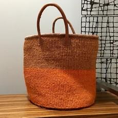 WS- Sisal Basket Bag with Leather Handles-Orange (Kenya)