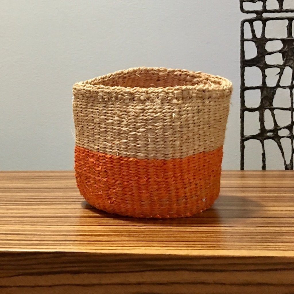 "Sisal Basket- Orange-5"" x 5"" (Kenya)"