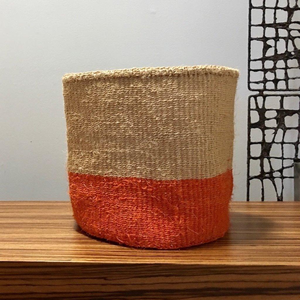 """Sisal Basket- Orange-10"""" x 10"""" (Kenya)"""
