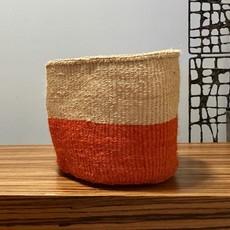 """Sisal Basket- Orange-9"""" x 9"""" (Kenya)"""