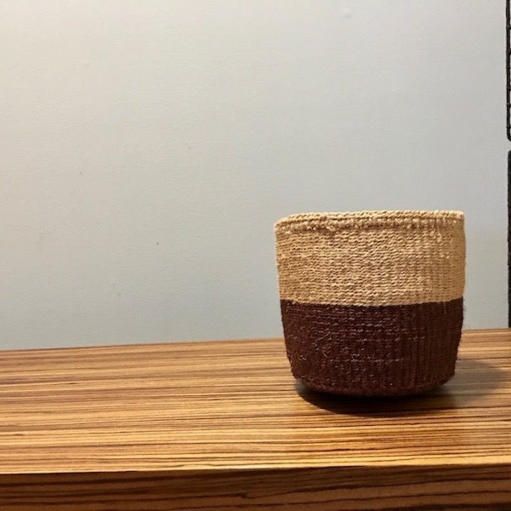 "Sisal Basket- Brown-6"" x 6"" (Kenya)"