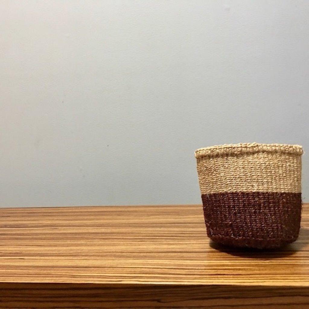 """WS- Sisal Basket- Brown-5"""" x 5"""" (Kenya)"""