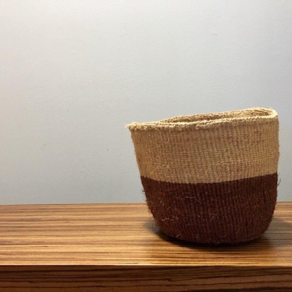 "Sisal Basket- Brown-8"" x 8"" (Kenya)"