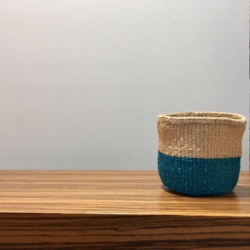"""WS- Sisal Basket- Blue-5"""" x 5"""" (Kenya)"""