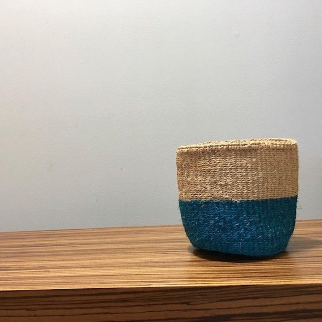 """WS- Sisal Basket- Blue-6"""" x 6"""" (Kenya)"""