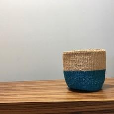 "Sisal Basket- Blue-6"" x 6"" (Kenya)"