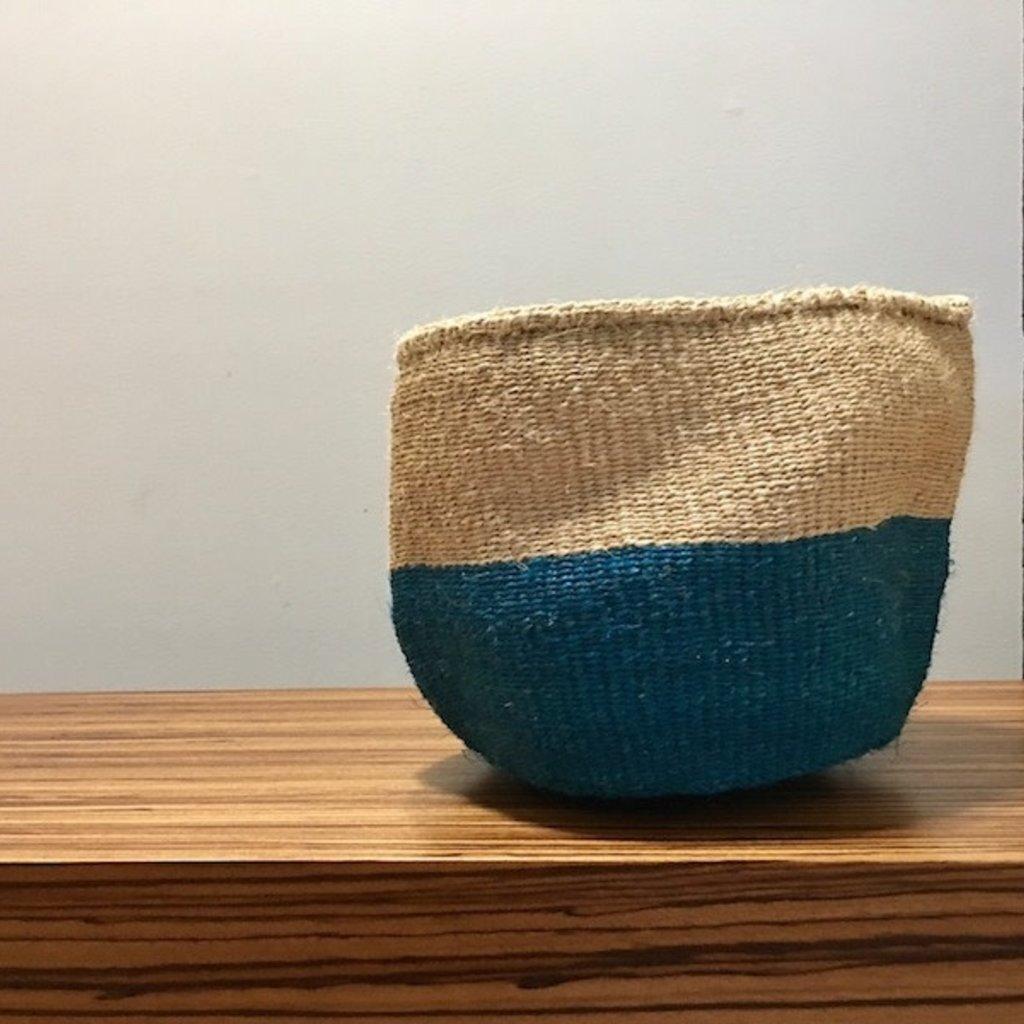 "Sisal Basket- Blue-9"" x 9"" (Kenya)"