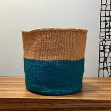 "Sisal Basket- Blue-11"" x 11"" (Kenya)"